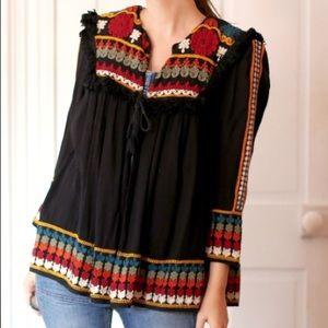 Zara Trafaluc Embroidered Boho Black Jacket